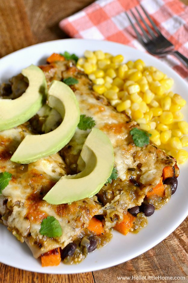 Black Bean and Butternut Squash Enchiladas with Green Sauce | Hello Little Home