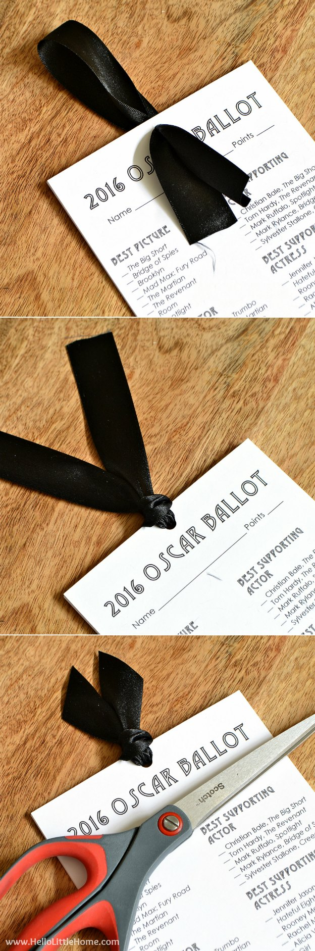 Free Printable 2016 Oscar Ballot, plus easy step-by-step instructions for a beautiful presentation envelope! | Hello Little Home