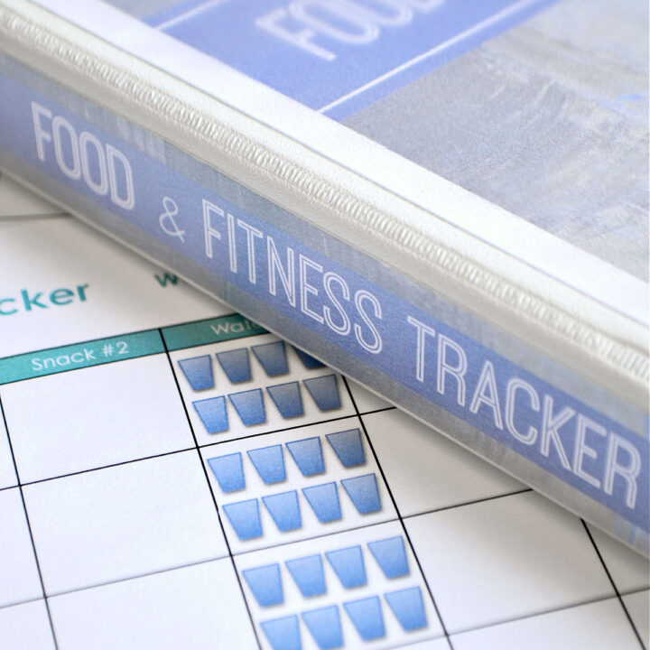 Sheet from the Free Printable Food and Exercise Journal under the journal binder.