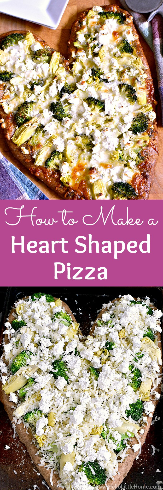 Learn how to make a Heart Shaped Pizza at home for Valentine's Day, date night, parties, or any special occasion! This homemade heart shaped pizza recipe is easy and fun to make for sweeties, kids, or families. Make one large pizza or smaller mini heart shaped pizzas with this creative and easy Valentine's Day dinner or lunch recipe. | Hello Little Home