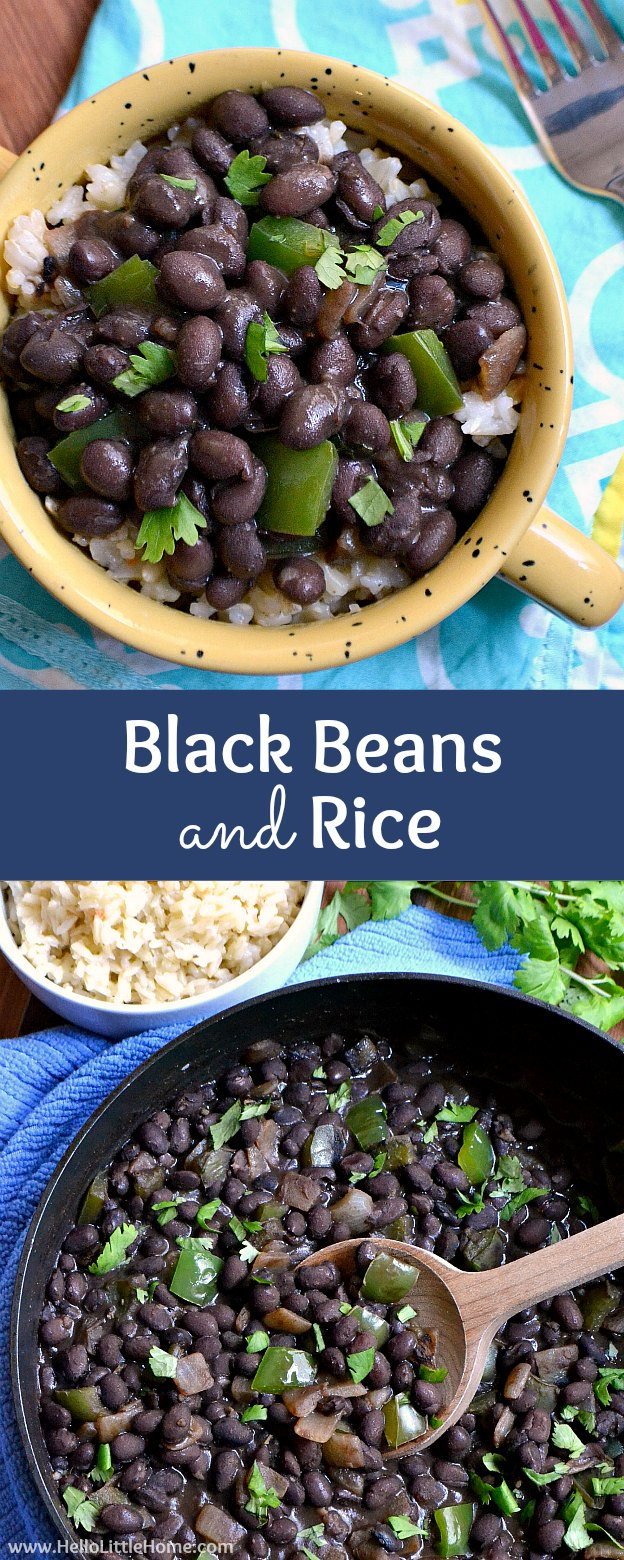 Collage showing a bowl of black beans and rice, and a skillet filled with seasoned black beans.