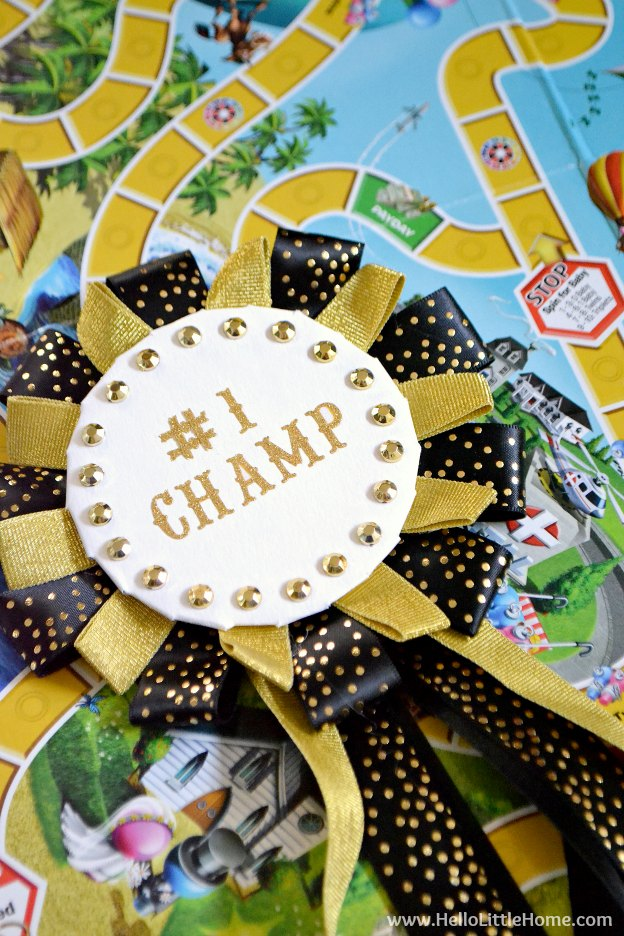 Learn how to make this easy DIY Game Night Champion Ribbon! It's the perfect addition to family game night! | Hello Little Home