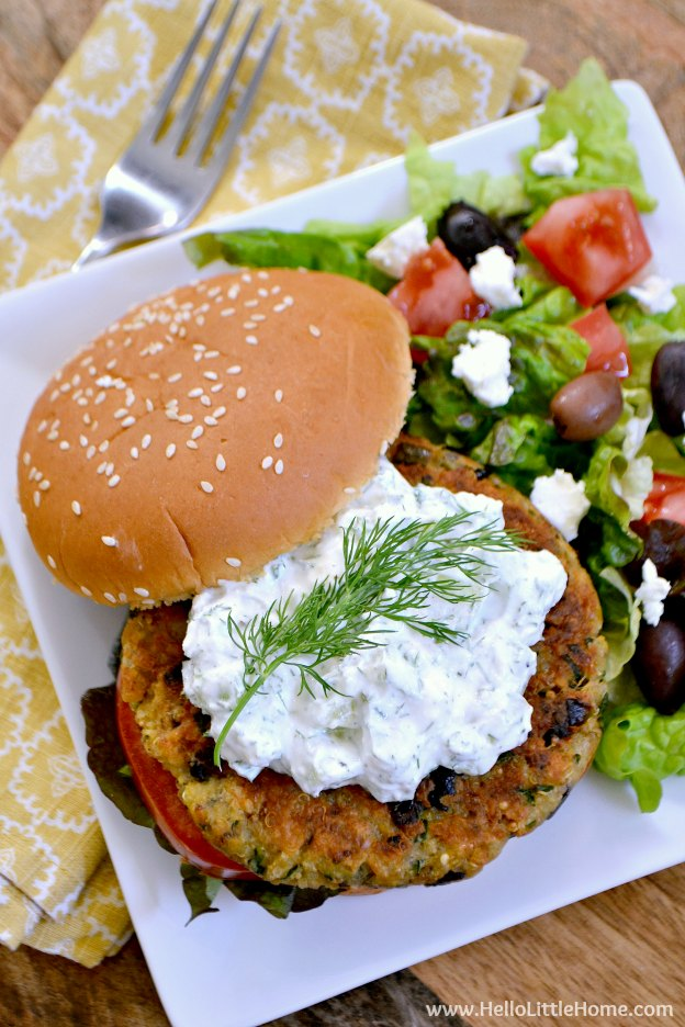 Greek Veggie Burgers with Cucumber Feta Sauce ... one of 100 Vegetarian Game Day Recipes! Get ready for the big game with over 100 vegetarian and vegan appetizers, soups, chilis, main dishes, sandwiches, breakfast, desserts, and more that will make your next football watching party unforgettable! | Hello Little Home