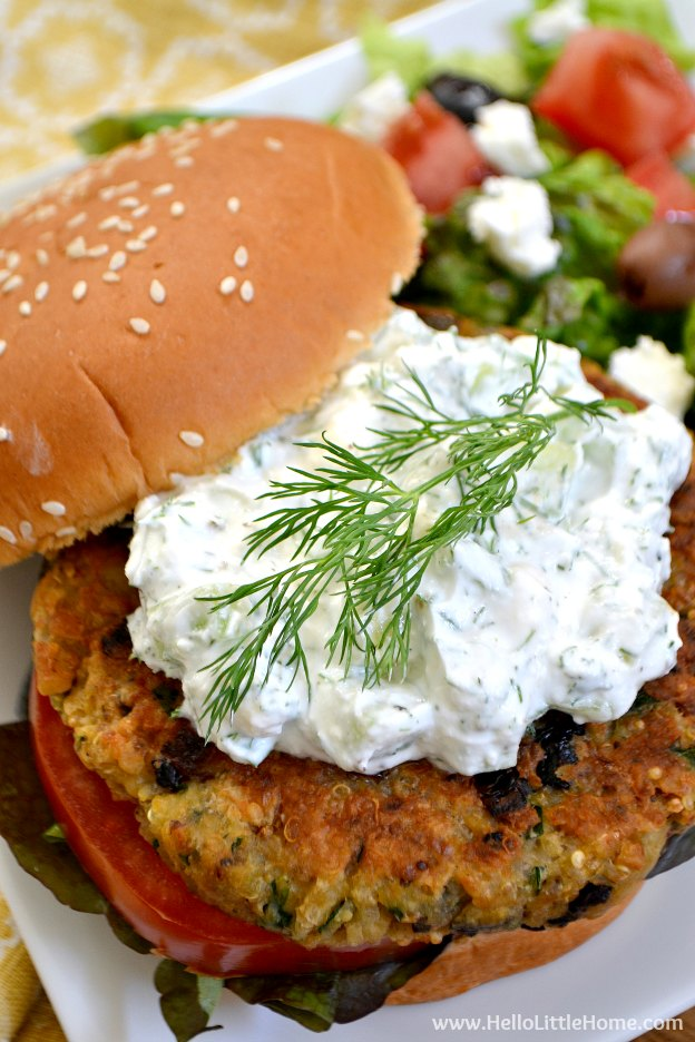 You are going to love these Greek Veggie Burgers with Cucumber Feta Sauce! Get this easy recipe + over 60 more vegetarian summer recipes that are perfect for any occassion! | Hello Little Home