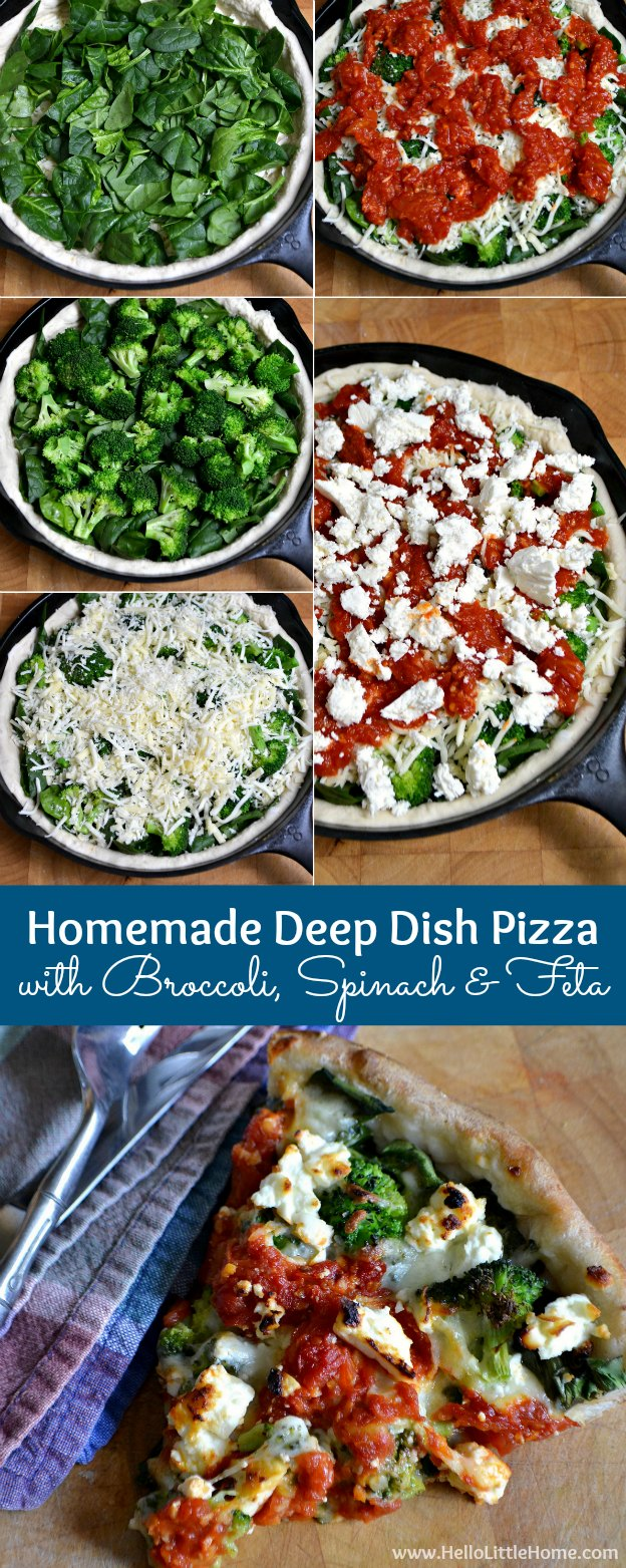 Homemade Deep Dish Pizza with Broccoli, Spinach, and Feta ... so easy to make and the perfect family meal! An Uno Pizzeria Spinaccoli copycat recipe! | Hello Little Home