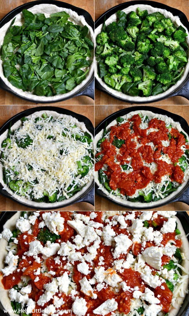 Step by step photos showing how to make Spinoccoli Pizza.