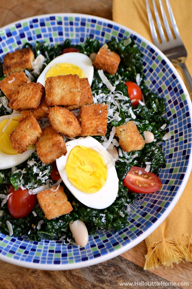 Kale Caesar Salad ... one of 100 Vegetarian Game Day Recipes! Get ready for the big game with over 100 vegetarian and vegan appetizers, soups, chilis, main dishes, sandwiches, breakfast, desserts, and more that will make your next football watching party unforgettable! | Hello Little Home