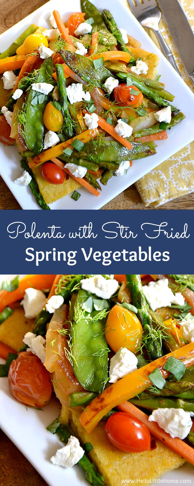 Polenta Cakes with Stir-Fried Spring Vegetables ... a delicious vegetarian main dish recipe that's perfect for a special spring dinner! | Hello Little Home
