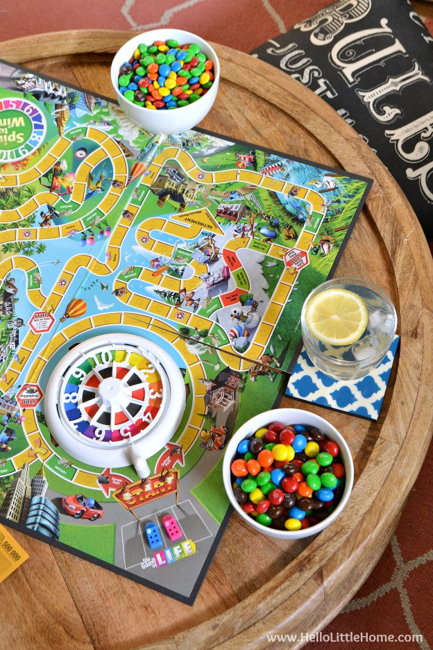 The Game of Life and M&M's® Chocolate Candies ... the perfect family game night pairing! | Hello Little Home
