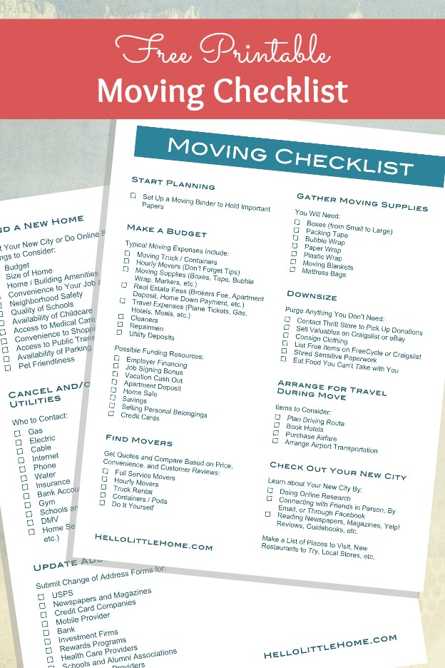 FreePrintableMovingChecklist  Hello Little Home