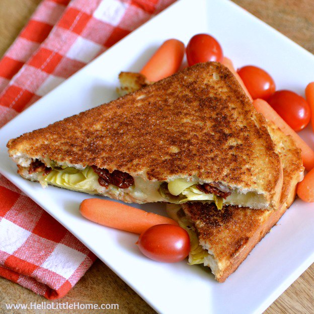 Spicy Artichoke and Sundried Tomato Grilled Cheese Sandwich