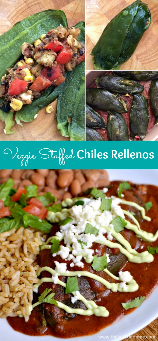 Step-by-step instructions for making amazing Veggie Stuffed Chiles Rellenos with Avocado Cream! This yummy vegetarian Mexican recipe is the perfect treat for Cinco de Mayo or for any festive occasion! | Hello Little Home