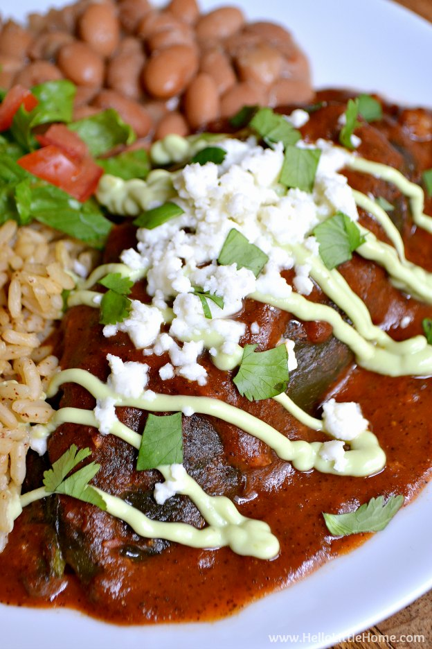 These Veggie Stuffed Chiles Rellenos with Avocado Cream are the perfect treat for Cinco de Mayo or for anytime you're craving a delicious vegetarian Mexican meal! | Hello Little Home