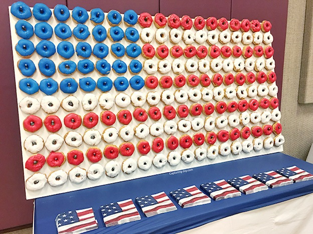 10 Adorable DIY Donut Crafts, like this American Flag Donut Wall from Capturing Joy by Kristen Duke ... these donut projects are so cute, you won't know which one to make first! | Hello Little Home