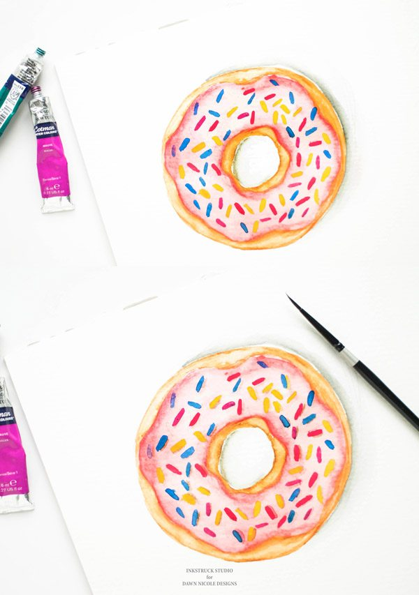 10 Adorable DIY Donut Crafts, like this DIY Watercolor Tutorial from By Dawn Nicole ... these donut projects are so cute, you won't know which one to make first! | Hello Little Home