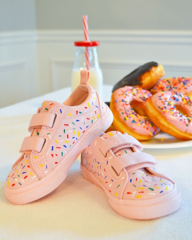 10 Adorable DIY Donut Crafts, like these Donut Shoes from The Cofran home ... these donut projects are so cute, you won't know which one to make first! | Hello Little Home
