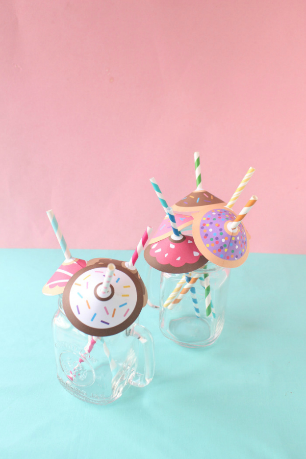 20 Adorable DIY Donut Crafts: Donut Straw Umbrellas from A Joyful Riot | Hello Little Home