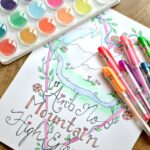 "Free Coloring Page! Grab this hand drawn and lettered ""Ain't No Mountain High Enough"" free printable adult coloring book page! Plus, get tips for how to make your own custom coloring page. 