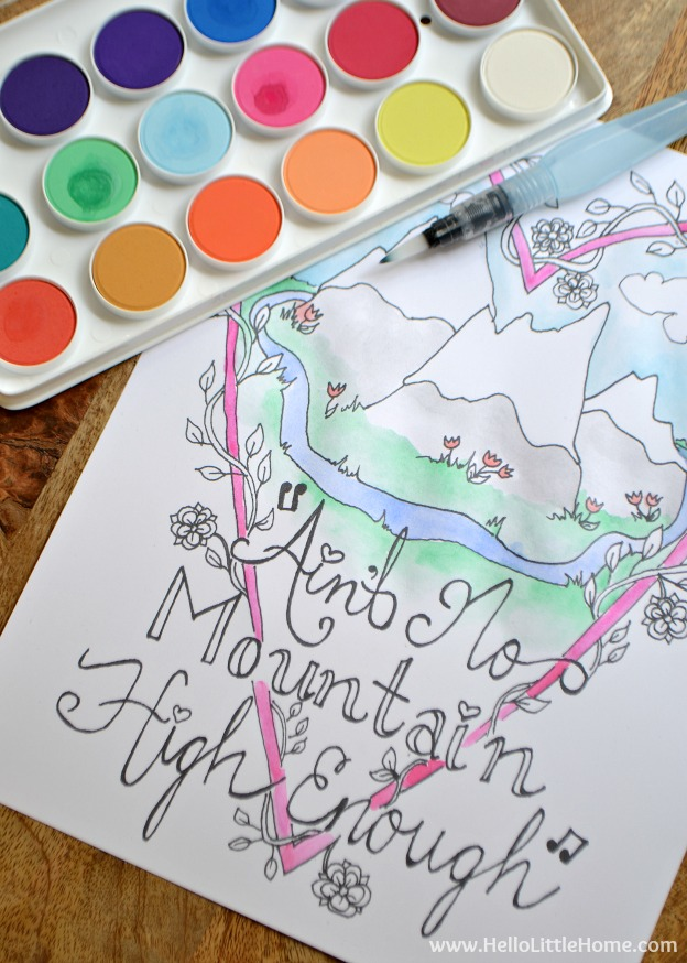 Coloring a free printable music coloring sheet with watercolors.