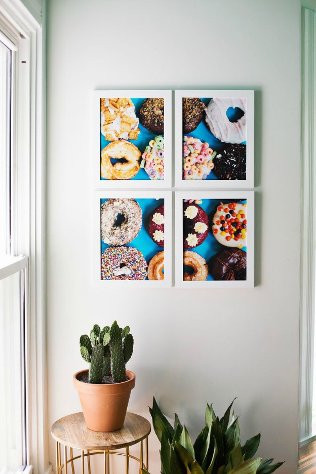 20 Adorable DIY Donut Crafts: Giant Tiled Donut Photo Art from A Beautiful Mess | Hello Little Home