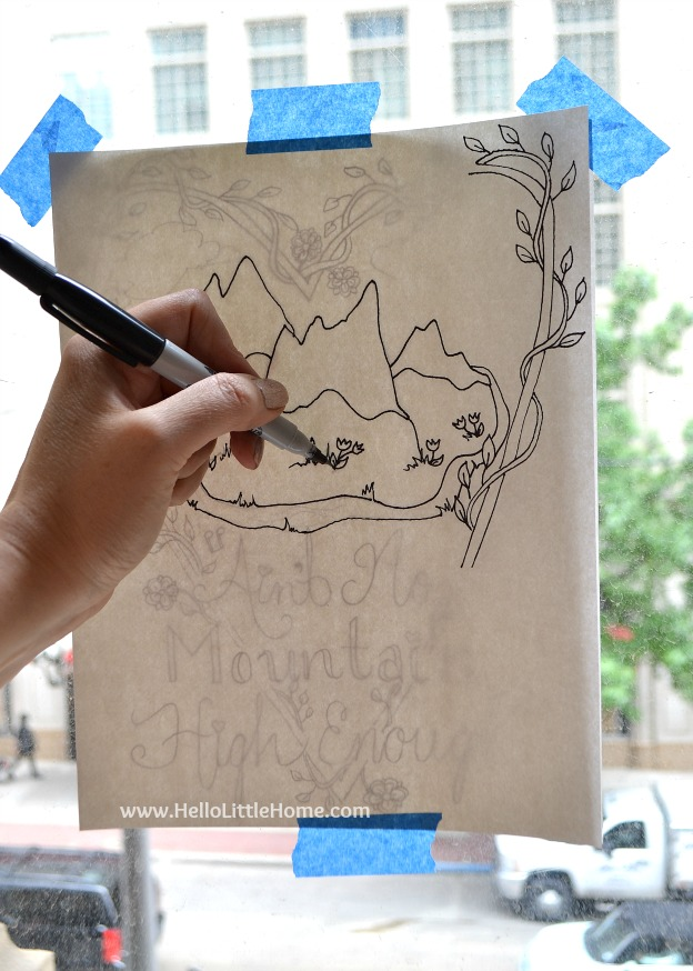 "Learn how to make your own coloring page! Follow my easy step by step tips, and you'll have a custom coloring page that perfect for any event! Plus, get my free coloring page: ""Ain't No Mountain High Enough""! 