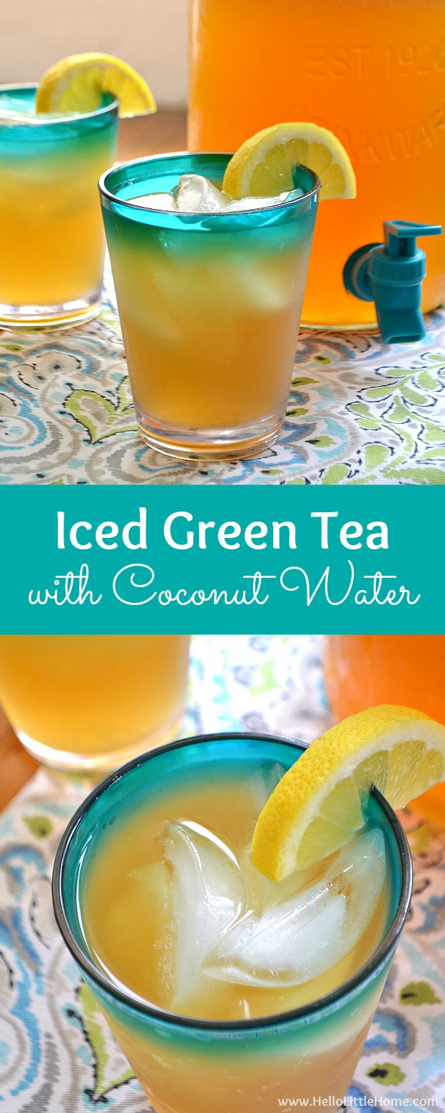 Iced Green Tea with Coconut Water ... a refreshing, healthy iced tea recipe! This easy green tea recipe is made with coconut water, giving it a lightly sweetened, unique flavor ... the perfect summer drink!   Hello Little Home