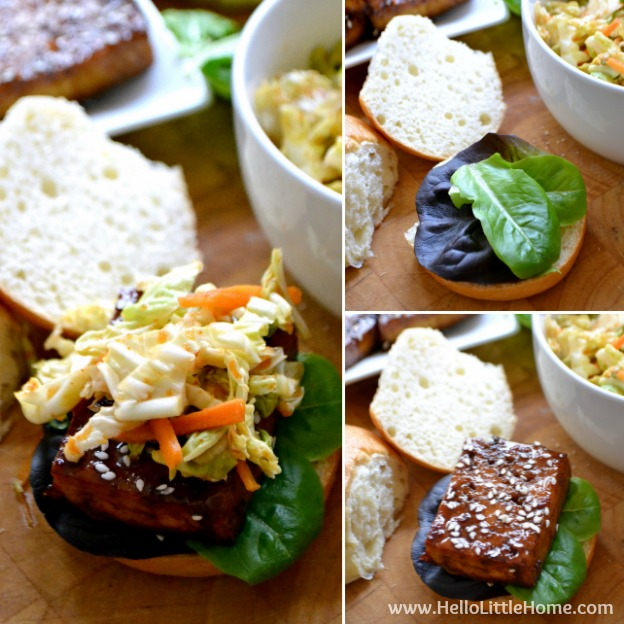 Step by Step instructions for making AMAZING Korean BBQ Tofu Sliders with Kimchi Slaw ... one of the BEST things you'll ever eat! You'll love these sweet and spicy vegetarian sliders, which are full of delicious Korean flavors, yet they're simple to make with easy to find ingredients. Perfect for a summer barbeque, party, or other get together! | Hello Little Home
