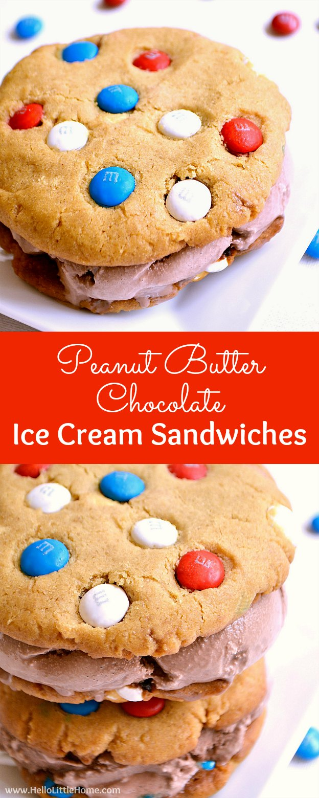 Peanut Butter Chocolate Ice Cream Sandwiches recipe ... a yummy red, white, and blue dessert that's perfect for summer! Homemade ice cream sandwiches are made from giant peanut butter cookies filled with M&M's and surrounding rich chocolate ice cream. These DIY ice cream sandwiches are perfect for any summer party! | Hello Little Home