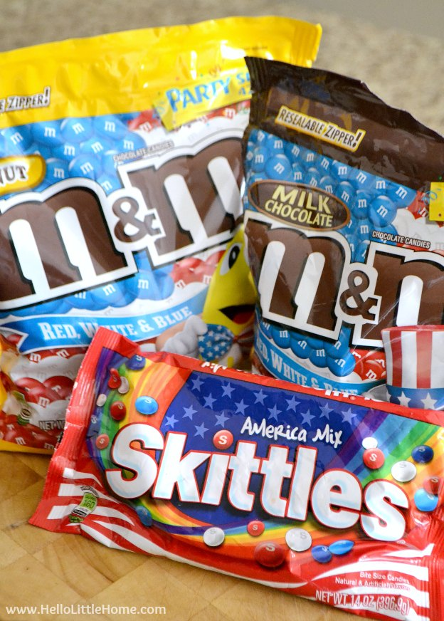 Red, white, and blue M&M's® and Skittles® ... perfect for any patiotic occasion! |Hello Little Home