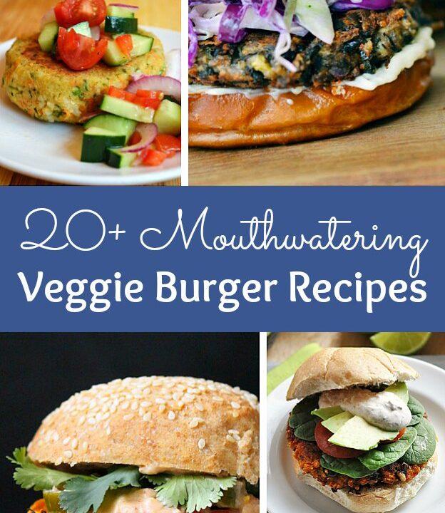 Collage of different Veggie Burger recipes.