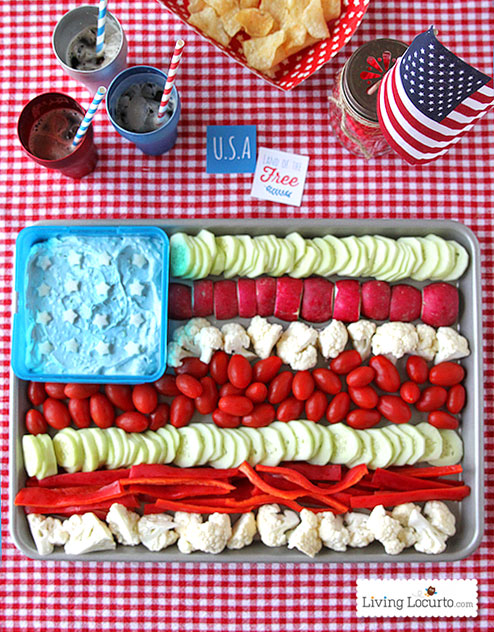 Over 30 Patriotic Recipes, Crafts, and Home Decor Ideas, including this American Flag Vegetable Tray from Living Locurto! These fun and easy red, white, and blue ideas are perfect for celebrating every patriotic summer occassion ... 4th of July, Memorial Day, and more!   Hello Little Home