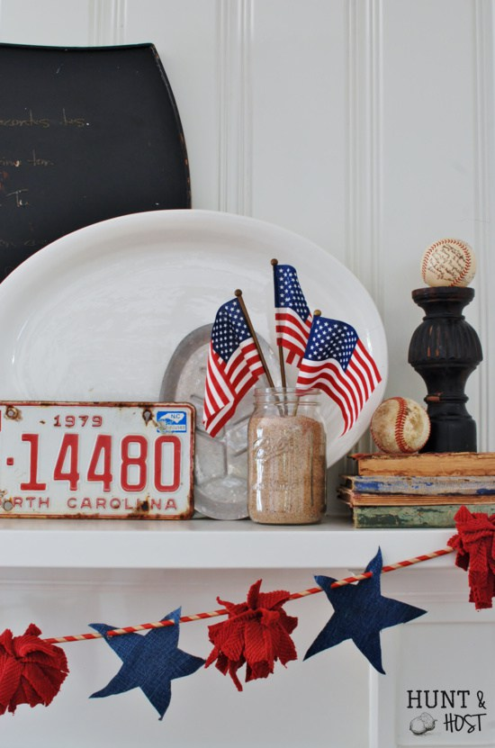 Over 30 Patriotic Recipes, Crafts, and Home Decor Ideas, including this July 4th Mantle from Hunt & Host! These fun and easy red, white, and blue ideas are perfect for celebrating every patriotic summer occassion ... 4th of July, Memorial Day, and more! | Hello Little Home