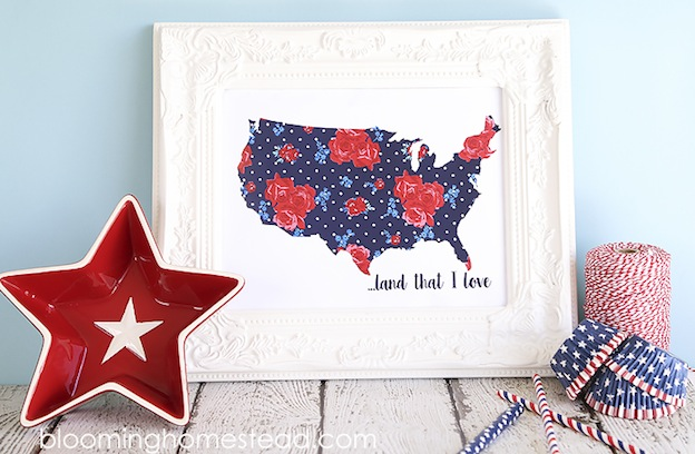 Over 30 Patriotic Recipes, Crafts, and Home Decor Ideas, including this Patriotic Printable from Blooming Homestead! These fun and easy red, white, and blue ideas are perfect for celebrating every patriotic summer occassion ... 4th of July, Memorial Day, and more! | Hello Little Home
