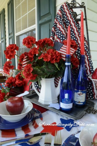 Over 30 Patriotic Recipes, Crafts, and Home Decor Ideas, including this Patriotic Tablescape from Surroundings by Debi! These fun and easy red, white, and blue ideas are perfect for celebrating every patriotic summer occassion ... 4th of July, Memorial Day, and more!   Hello Little Home