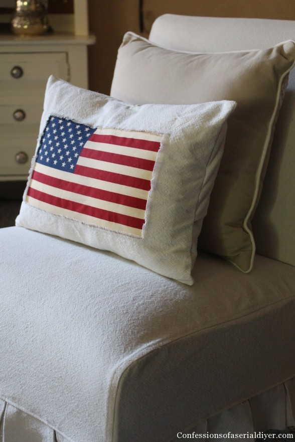 Over 30 Patriotic Recipes, Crafts, and Home Decor Ideas, including this Drop Cloth Pillow from Confessions of a Serial Do-It-Yourselfer! These fun and easy red, white, and blue ideas are perfect for celebrating every patriotic summer occassion ... 4th of July, Memorial Day, and more!   Hello Little Home
