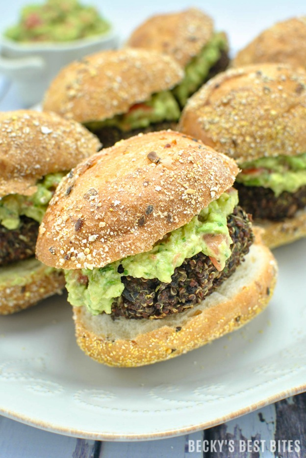 Red Quinoa and Black Bean Sliders from Becky's Best Bits ... one of 20 Mouthwatering Veggie Burger Recipes ... perfect for all your summer cookouts and parties! These delicious vegetarian and vegan burgers are filled with healthy ingredients + super delicious ... make one for your next BBQ! | Hello Little Home