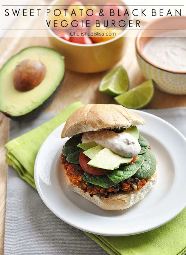 Sweet Potato and Black Bean Veggie Burgers from Cherished Bliss ... one of 20 Mouthwatering Veggie Burger Recipes ... perfect for all your summer cookouts and parties! These delicious vegetarian and vegan burgers are filled with healthy ingredients + super delicious ... make one for your next BBQ!   Hello Little Home