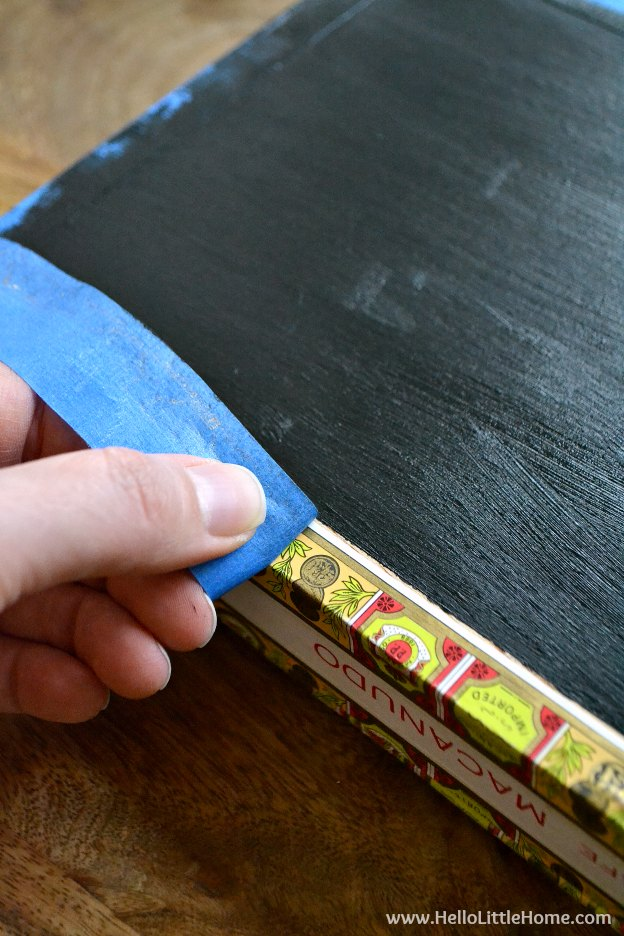 Easy step-by-step tutorial for making a DIY Cigar Box Chalkboard! The perfect craft for kids or make a bunch for girls night out! This simple DIY chalkboard is a fun craft project anyone will enjoy!   Hello Little Home
