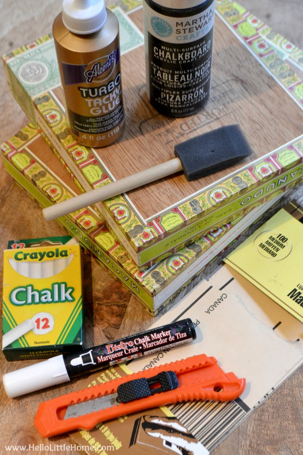 Easy step-by-step tutorial for making a DIY Cigar Box Chalkboard! The perfect craft for kids or make a bunch for girls night out! This simple DIY chalkboard is a fun craft project anyone will enjoy! | Hello Little Home