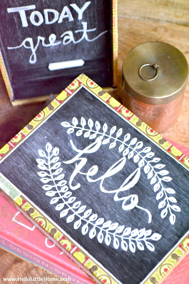 Two DIY Cigar Box Chalkboards