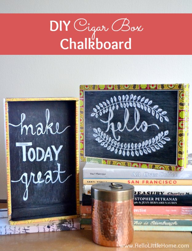 DIY Cigar Box Chalkboard ... super fun and easy to make! The perfect craft for kids or make a bunch for girls night out! This simple DIY chalkboard is a fun craft project anyone will enjoy! | Hello Little Home