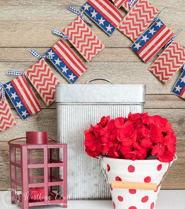 Over 30 Patriotic Recipes, Crafts, and Home Decor Ideas, including this easy DIY Garland from Worthing Court! These fun and easy red, white, and blue ideas are perfect for celebrating every patriotic summer occassion ... 4th of July, Memorial Day, and more!   Hello Little Home