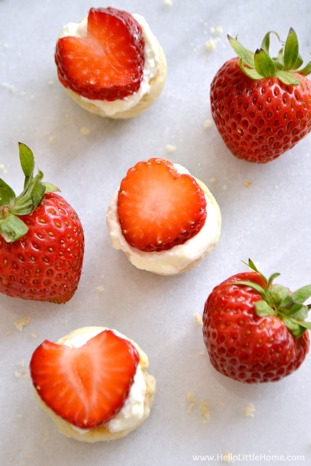 100 Must Try Vegetarian Spring Recipes ... everything from appetizers to main dishes to desserts, including these Mini Strawberry Shortcakes! You're going to want to try each of these amazing vegetarian recipes! | Hello Little Home
