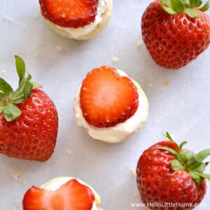 These Mini Strawberry Shortcakes are irresistable! An easy dessert recipe that's perfect for parties or anytime you're craving a sweet treat! | Hello Little Home