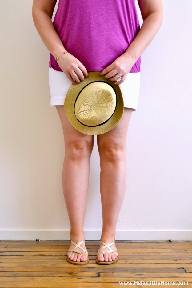 Legs with a natural summer glow from sunless tanner.