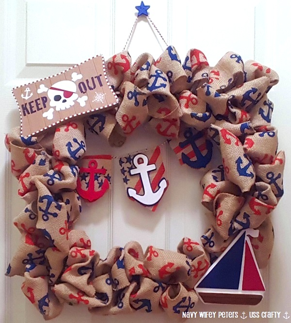 Over 30 Patriotic Recipes, Crafts, and Home Decor Ideas, including this Nautical Burlap Wreath from Navy Wife Peters Aboard the USS Crafty! These fun and easy red, white, and blue ideas are perfect for celebrating every patriotic summer occassion ... 4th of July, Memorial Day, and more! | Hello Little Home