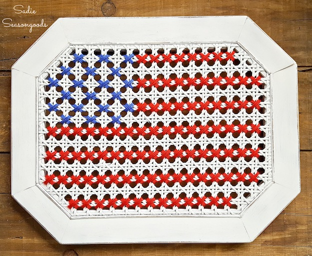 Over 30 Patriotic Recipes, Crafts, and Home Decor Ideas, including this Oversized Cross Stitch Flag from Sadie Seasongoods! These fun and easy red, white, and blue ideas are perfect for celebrating every patriotic summer occassion ... 4th of July, Memorial Day, and more!   Hello Little Home