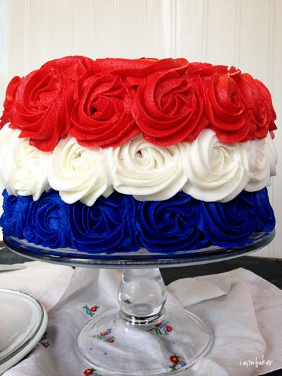 Over 30 Patriotic Recipes, Crafts, and Home Decor Ideas, including this Patriotic Rose Cake from I Am Baker! These fun and easy red, white, and blue ideas are perfect for celebrating every patriotic summer occassion ... 4th of July, Memorial Day, and more!   Hello Little Home