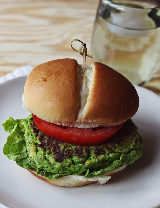 Spicy Edamame Burgers from A Beautiful Mess ... one of 20 Mouthwatering Veggie Burger Recipes ... perfect for all your summer cookouts and parties! These delicious vegetarian and vegan burgers are filled with healthy ingredients + super delicious ... make one for your next BBQ!   Hello Little Home