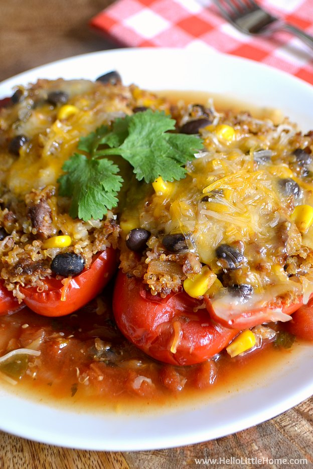 Tex Mex Stuffed Peppers in the Crockpot ... an amazing vegetarian slow cooker recipe! Serve this yummy vegetarian stuffed vegetable recipe at the height of summer or year round! It's that versatile. | Hello Little Home